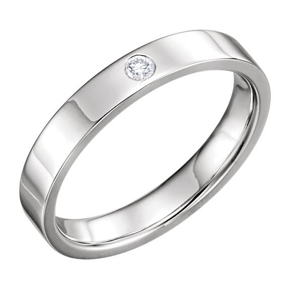 4mm Flat Diamond Wedding Band Ring, 14K White Gold
