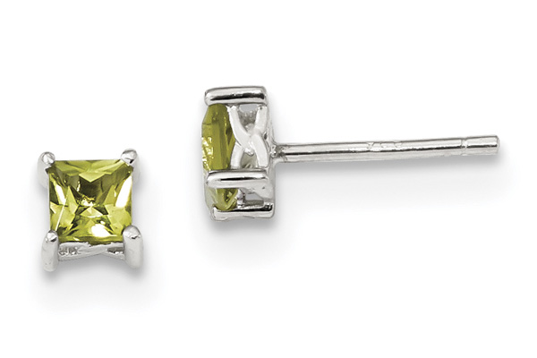 Princess-Cut Peridot Stud Earrings in Sterling Silver