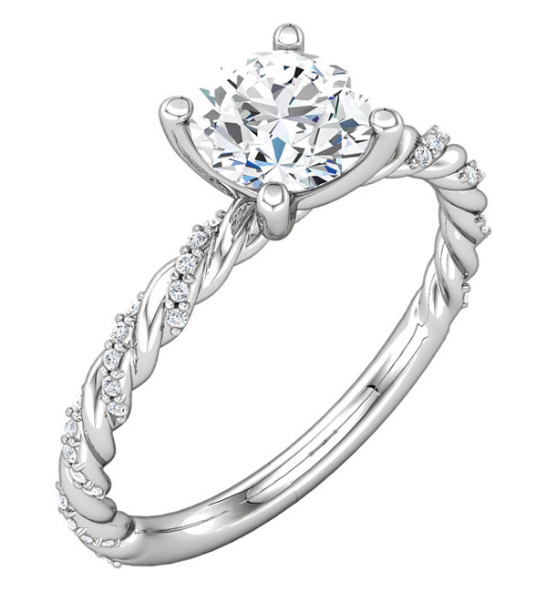 0.87 Carat Diamond Band Swirl Engagement Ring
