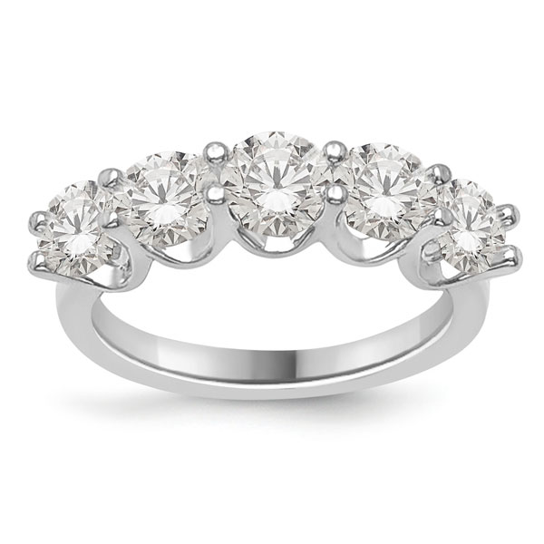 5 Stone 5 Carat CZ Ring in 14K White Gold