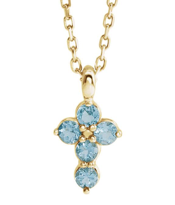 14K Gold 5-Stone Aquamarine Cross Necklace