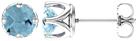6mm Woven Aquamarine Stud Earrings, 14K White Gold