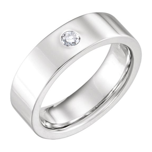 6mm Flat Diamond Wedding Band Ring, 14K White Gold
