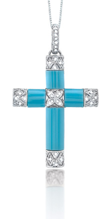 Turquoise and 0.25 Carat Diamond Cross Pendant in 14K White Gold