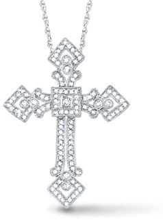 1/2 Carat Diamond Byzantine Cross Pendant