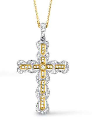1/2 Carat Baroque Diamond Cross Pendant