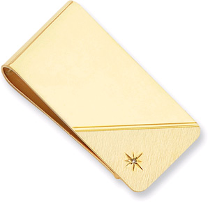 Gold Plated Star Cut Diamond Money Clip (Men's Accessories, Apples of Gold)