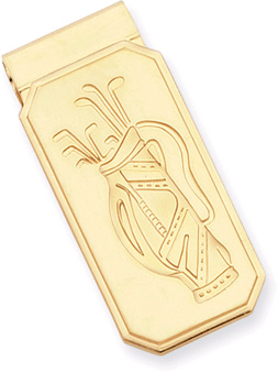 Gold Plated Golf Bag Hinged Money Clip