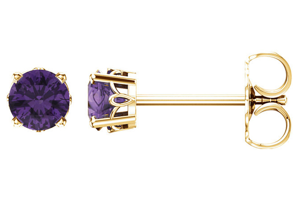Amethyst Scroll Stud Earrings, 14K Gold