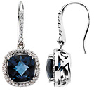 11 Carat Antique-Square Checkerboard London Blue Topaz and Diamond Earrings