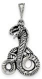 Antiqued Cobra Pendant, Sterling Silver