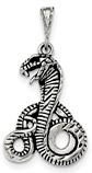 Antiqued Cobra Pendant, Sterling Silver