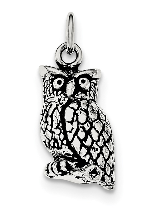 Antiqued Sterling Silver Owl Pendant