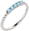 Aquamarine Stackable Beaded Ring, 14K White Gold