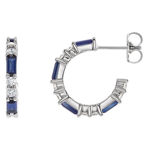 Baguette Blue Sapphire and 1/2 Carat Diamond Earrings, 14K White Gold
