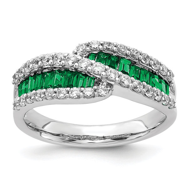 Baguette Emerald and Diamond Ring, 14K White Gold