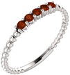 Beaded Band Garnet Stackable Ring in 14K White Gold