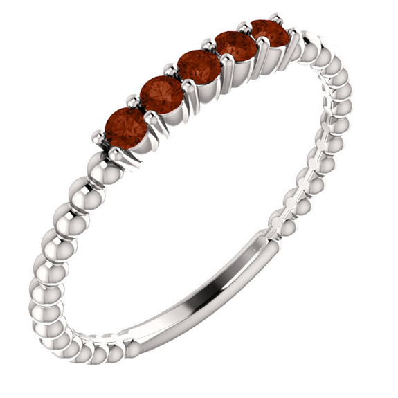Stackable Garnet Beaded Silver Band Ring