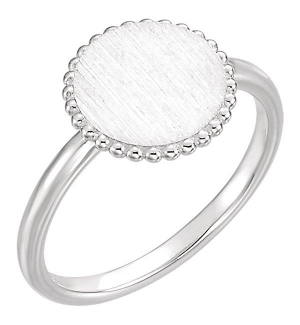 Beaded Circle Engraveable Signet Ring, 14K White Gold