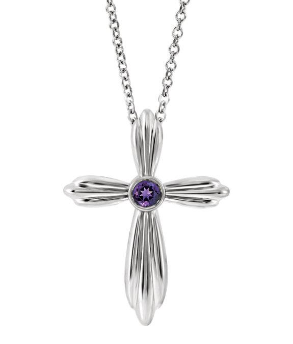 Sterling Silver Bezel Amethyst Cross Necklace