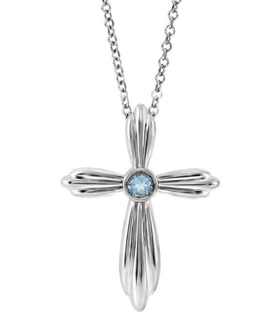 Sterling Silver Bezel Aquamarine Cross Necklace