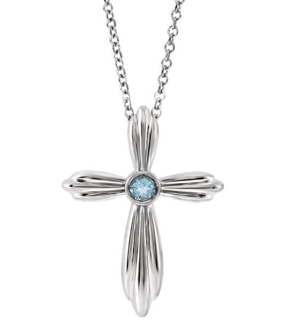 Bezel-Set Aquamarine Cross Necklace, 14K White Gold