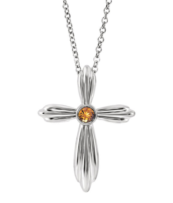 Silver Bezel Citrine Cross Necklace