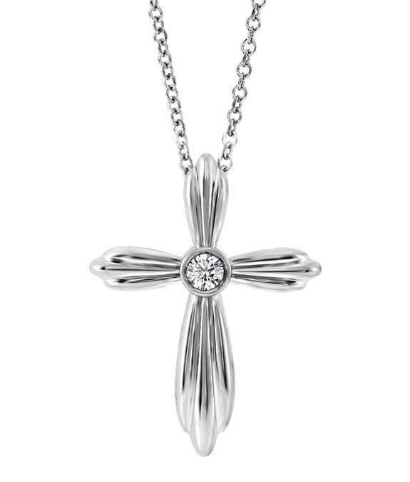 Bezel-Set 14K White Gold Diamond Cross Necklace