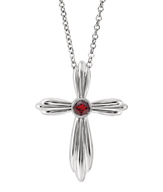Bezel-Set Red Garnet Cross Necklace, 14K White Gold