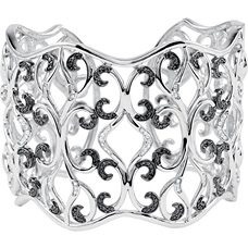 1 1/3 Carat Black and White Diamond Cuff Bracelet in Silver