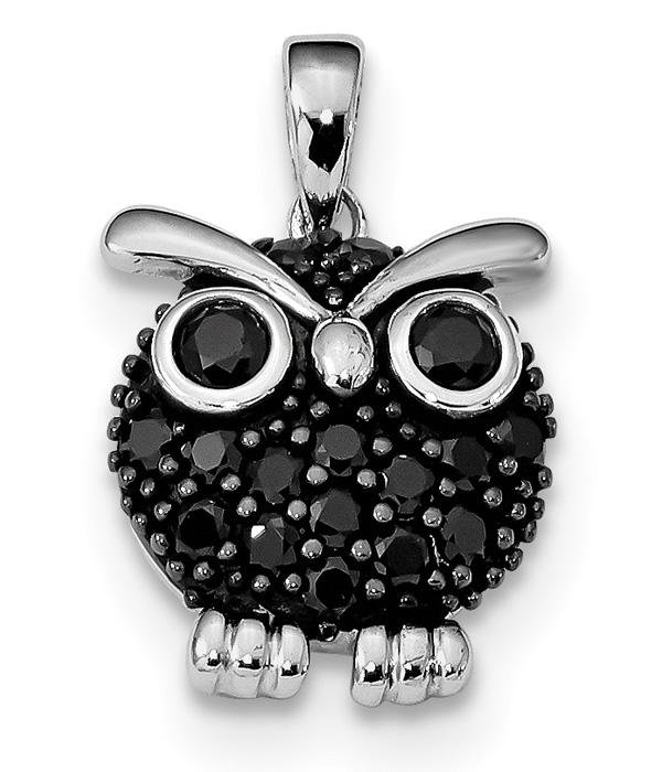 Black CZ Owl Pendant, Sterling Silver