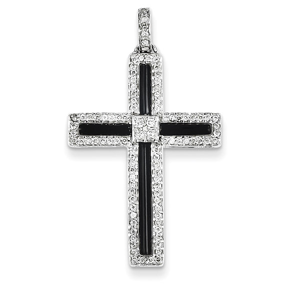 Black Onyx and 1/3 Carat Diamond Cross Pendant, 14K White Gold