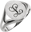Black Script Personalized Signet Ring in White Gold