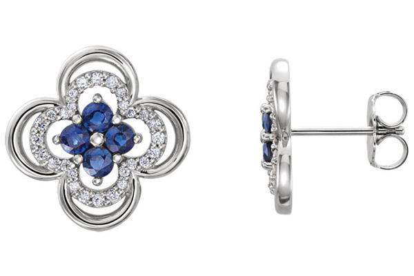 Blue Sapphire and Diamond Clover Earrings