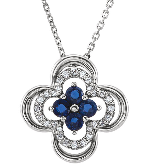 Blue Sapphire and Diamond Clover Necklace, 14K White Gold