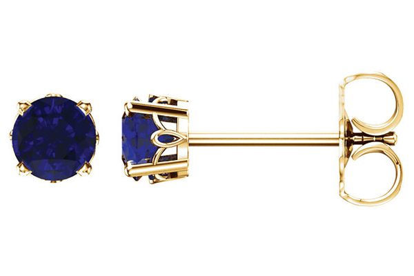 Blue Sapphire Scroll Stud Earrings, 14K Gold