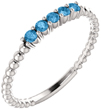 Sterling Silver Blue Topaz Stackable Band, 14K White Gold