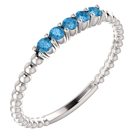 Blue Topaz Stackable Bead Ring, 14K White Gold