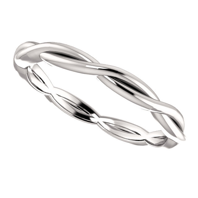 infinity band ring. braided infinity wedding band ring in 14k white gold. item #: stlrg-51788w retail value: 575.00. price: $375.00