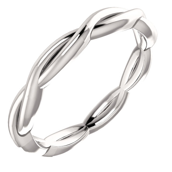 Braided Infinity Wedding Band Ring in 14K White Gold