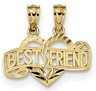 Break-Apart Best Friends Heart Pendant, 14K Gold