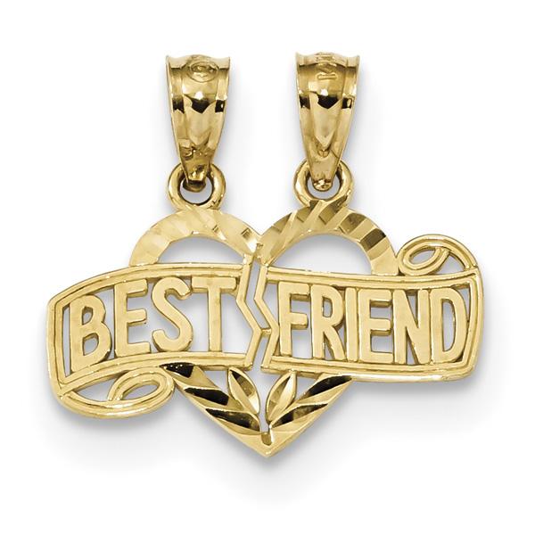 Break-Apart Best Friends Heart Pendant, 14K Gold