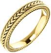 Women's Carved Design Wedding Band Ring in 14K Gold