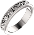 Silver Paisley Pattern Wedding Band Ring