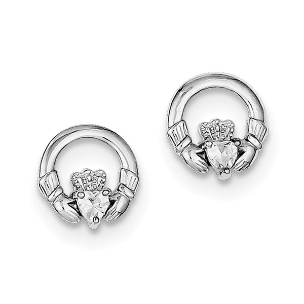 Celtic Claddagh CZ Stud Earrings, Sterling Silver