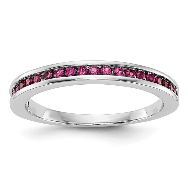 Natural Ruby Band in 14K White Gold