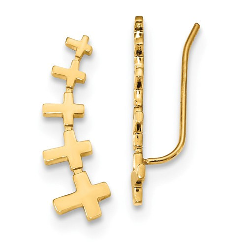 Graduating Cross Bar Earrings in 14K Yellow Gold
