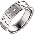 Crosses 14K White Gold Wedding Band Ring