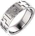 Crosses 14K White Gold Wedding Band Ring