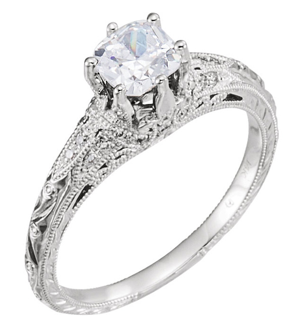 Cushion-Cut 0.86 Carat Diamond Antique-Style Engagement Ring